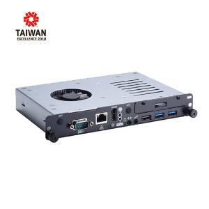 "OPS500-501-H Цифровой медиапроигрыватель Open Pluggable Specification, сокет LGA1151 для 7th/6th gen Intel Core/Celeron, чипсет Intel H110, DDR4, 1xUSB 2.0, 2xUSB 3.0, LAN, 1xHDMI, 1xRS-232, 1xPCIe Mini, отсек 2.5"" SSD SATA, Аудио"