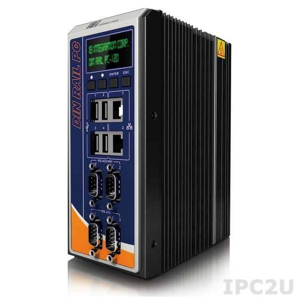 "DRPC-120-BTi-E5-LED/2G-R10 Безвентиляторный компактный компьютер на DIN-рейку, Intel E3845 1.91ГГц, 2Гб DDR3L, 2xГбит LAN, 2xRS232/2xRS422/485, HDMI, VGA, DVI-I, 4xUSB, отсек 2.5"" SATA HDD/SDD , mSATA, 8xDI/8xDO, IEI iRIS-2400 (опция), LED, 9..+30В DC"