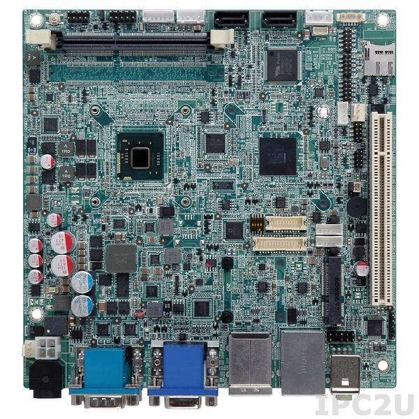 KINO-CV-D25501-R10 Процессорная плата Mini ITX SBC с Intel Atom D2550 1.86 ГГц, DDR3, VGA/ HDMI/Dual LVDS, Dual GbE, USB 3.0, mSATA, SATA 3Gb/s, audio