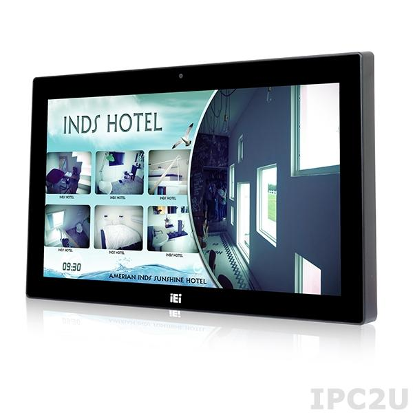 "AFL3-W15B-H81-i3/R/4G-R10 Панельная рабочая станция с 15.6"" TFT LCD, резистивный сенсорный экран, Intel Core i3-4330TE 2.4ГГц, 4Гб DDR3, 2.5"" SATA HDD отсек, 1xCOM, 6xUSB, 2xGbE LAN, mSATA, HDMI, камера 2МП, Wi-Fi, Аудио, питание 9-30В DC"