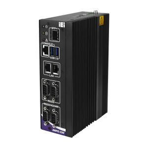 DRPC-330-A7K-A1/4G Безвентиляторный компактный компьютер на DIN-рейку, процессор Marvell ARMADA 88F7040, 4Гб DDR4, eMMC 32Гб, HDMI, DP, 2xGbE LAN, SFP+ 10GbE , RJ45 консоль, 4xCOM, 2xUSB, microSD, 3xM.2, питание 9-36В DC