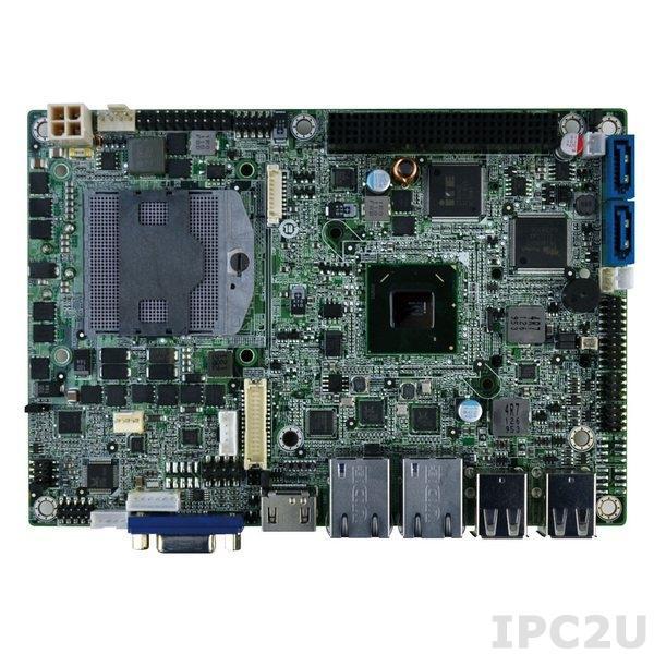 NANO-HM650-R11 Процессорная плата EPIC SBC, Socket G2 для Intel mobile Core i7/i5/i3, VGA/HDMI, 2 х PCIe GbE, USB 2.0, Mini PCIe, SATA III, PCI-104, Audio