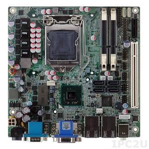 KINO-DH610 Процессорная плата Mini-ITX SBC, Intel Core i7/i5/i3/Pentium/Celeron LGA1155, чипсет Intel H61, 204-pin DDR3 1066/1333МГц SO-DIMM, 1xVGA, 1xHDMI, 1xDVI-D, 1xRS-232, 1xRS-232/422/485, 10xUSB 2.0, 4xSATA 3Gb/s, 1xPCI, 1xPCI x1, LAN, HD Audio