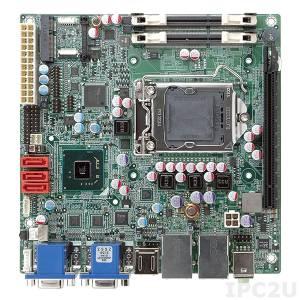 KINO-AH611-R10 Процессорная плата Mini-ITX Intel Core i7/i5/3 LGA1155 с DDR3, 2xVGA/2xHDMI, 2xGb LAN, 8xUSB, 3xSATA, Audio