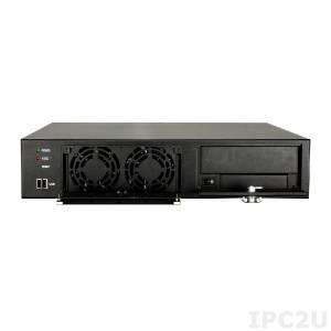 """RACK-220GBATX/A130B 19"""" корпус 2U, Для объединительной платы формата MicroATX, 2 х 8 см кулер, Источник питания ACE-A130B-RS 300Вт ATX, черный"""