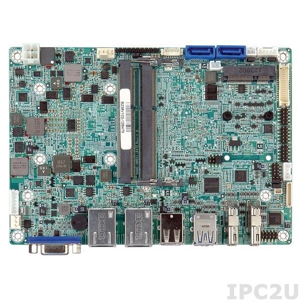 NANO-HM651-847E-R10 Процессорная плата EPIC SBC, Intel Celeron 847E 1.1ГГц, Dual DisplayPort/ VGA/ LVDS, Dual GbE, USB 2.0, PCIe Mini, SATA 6Гб/с, Audio
