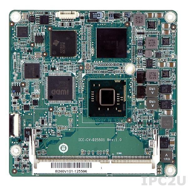 ICE-CV-N26001-R10 Процессорный модуль COM Express Rev 2.0 Basic/Compact Type 6, с процессором Intel Atom N2600, VGA/LVDS, DDI, GbE, SATAII, USB 3.0, Audio