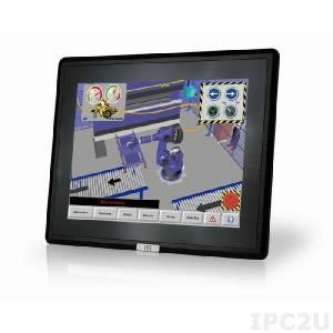 """DM-F12A/R-R11 Промышленный 12"""" LCD монитор, разрешение 1024x768 XGA, яркость 600кд/м2, резистивный сенсорный экран, алюминиевая передняя панель IP65, 1xVGA, 1xDP, 1xHDMI, 1xUSB 2.0, 1x-RS-232, питание 9-36В DC"""