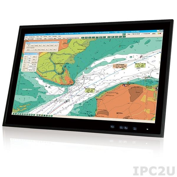"""S24A-QM87i-i5/PC/4G-R10 Морской панельный компьютер 24"""" FHD, 300 нит, емкостный сенсорный экран, Intel Mobile Core i5-4400E 2.7ГГц, 2x2.5"""" SSD, 1xCFast, 4Гб DDR3, 5xCOM, 4xUSB, VGA, DVI-D, HDMI, 2xCAN-bus, 2xGbE LAN, 2xMini PCIe, Аудио, питание 18-36В DC"""
